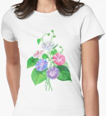 Morning Glory Isolated On White Women's Fitted T-Shirt
