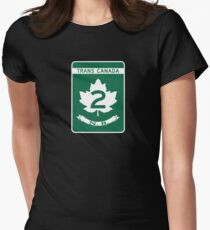 New Brunswick, Trans-Canada Highway Sign Women's Fitted T-Shirt