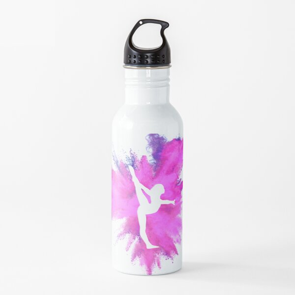 Gymnast Silhouette - Pink Explosion  (On Black)  Water Bottle