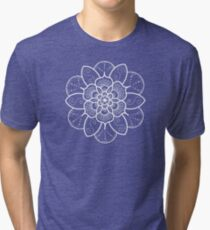 White mandala flower on Bondi Beach  Tri-blend T-Shirt