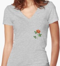 Vintage Red Rose Isolated on White Women's Fitted V-Neck T-Shirt