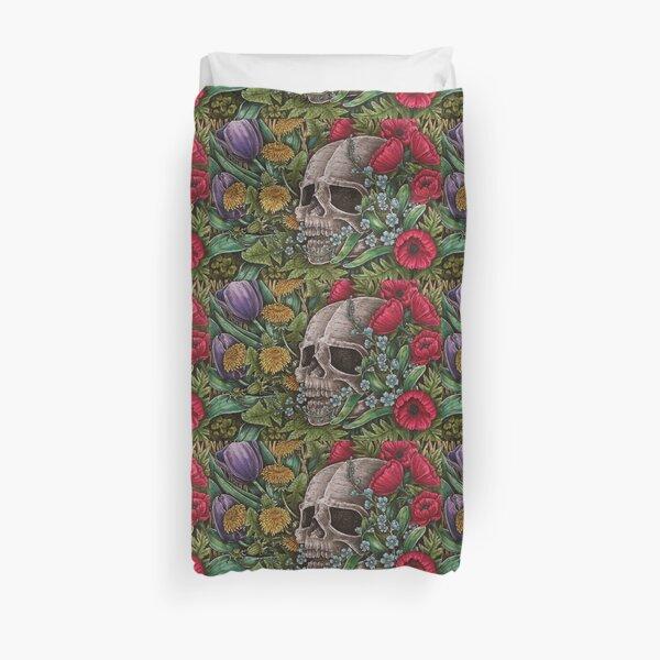 Skull with flowers 2 Duvet Cover