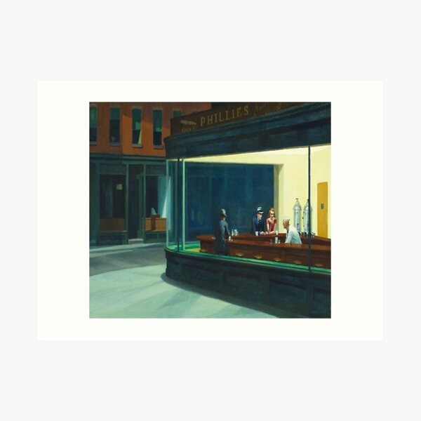 Edward Hopper - NightHawks, Art reproduction Art Print