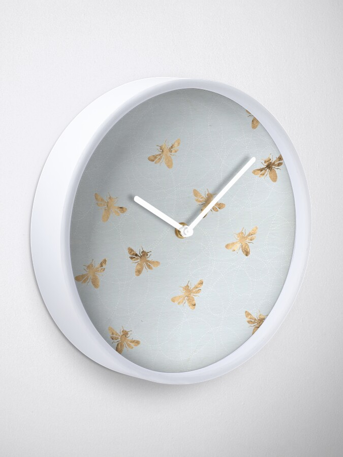 Alternate view of Rose Gold Bees Pattern Clock