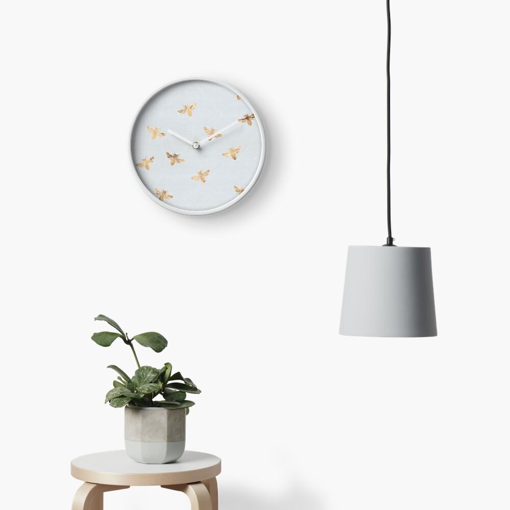Rose Gold Bees Pattern Clock