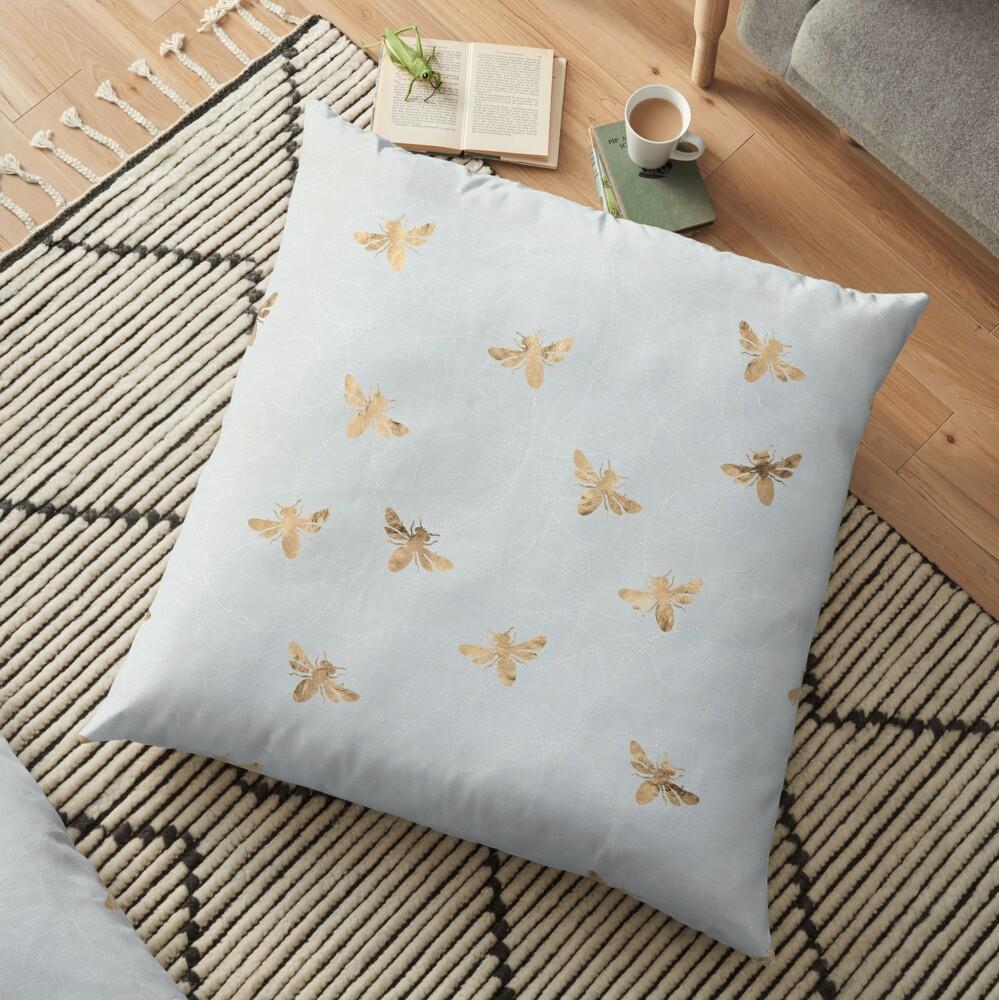Rose Gold Bees Pattern Floor Pillow
