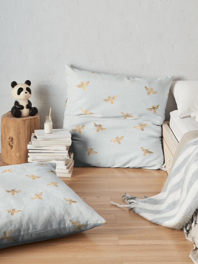 Alternate view of Rose Gold Bees Pattern Floor Pillow