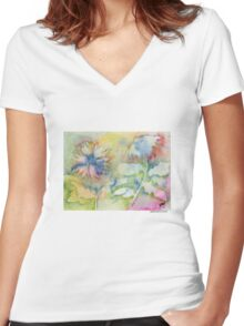 Chrysanthemums Women's Fitted V-Neck T-Shirt