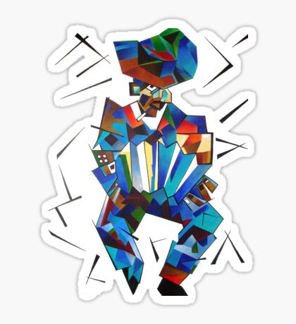 Cubist Portrait of Accordian Player Isolated on White Sticker