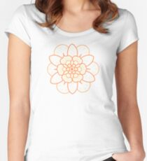 Orange mandala flower on tilt-shifted Gold Coast night lights photo Women's Fitted Scoop T-Shirt