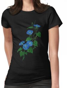 Blue Bindweed Isolated on White Womens Fitted T-Shirt