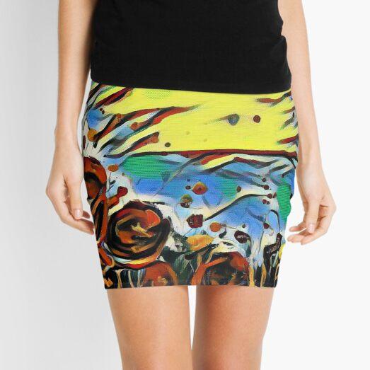 Poppy Circle 2 designed and created by (c) Janet Watson Art Mini Skirt