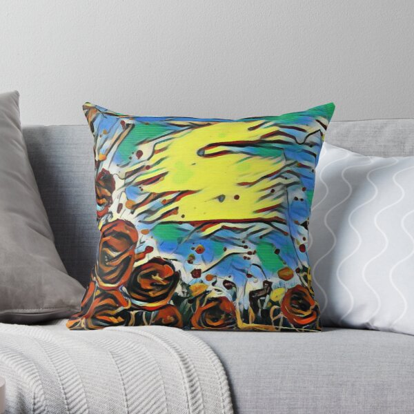 Poppy Circle 2 designed and created by (c) Janet Watson Art Throw Pillow