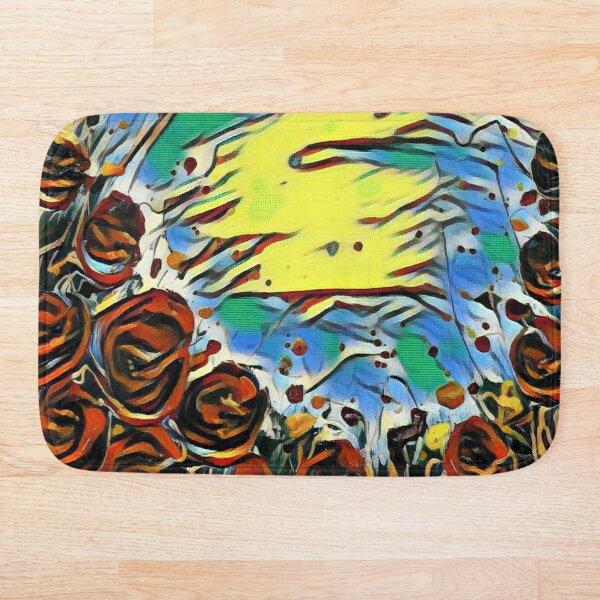 Poppy Circle 2 designed and created by (c) Janet Watson Art Bath Mat