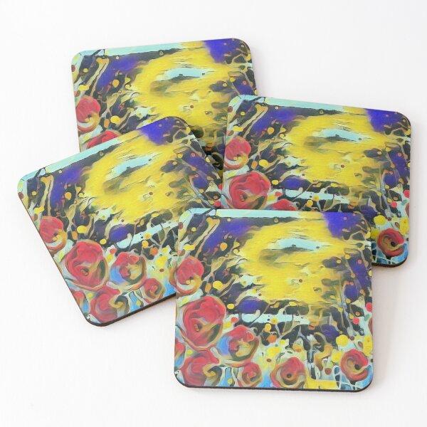 Poppy Garden 19 designed & created by (c) Janet Watson Art   Coasters (Set of 4)