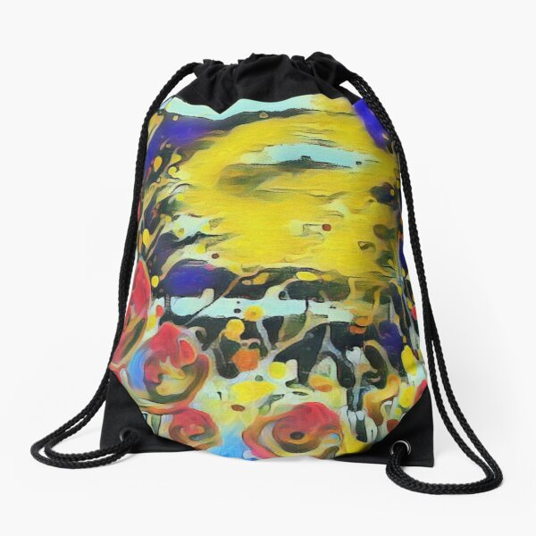 Poppy Garden 19 designed & created by (c) Janet Watson Art   Drawstring Bag