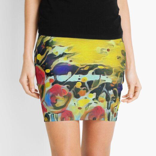 Poppy Garden 19 designed & created by (c) Janet Watson Art   Mini Skirt