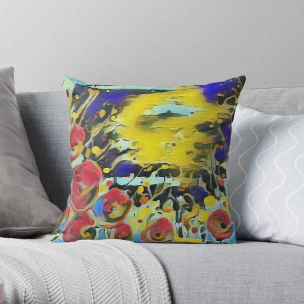 Poppy Garden 19 designed & created by (c) Janet Watson Art   Throw Pillow