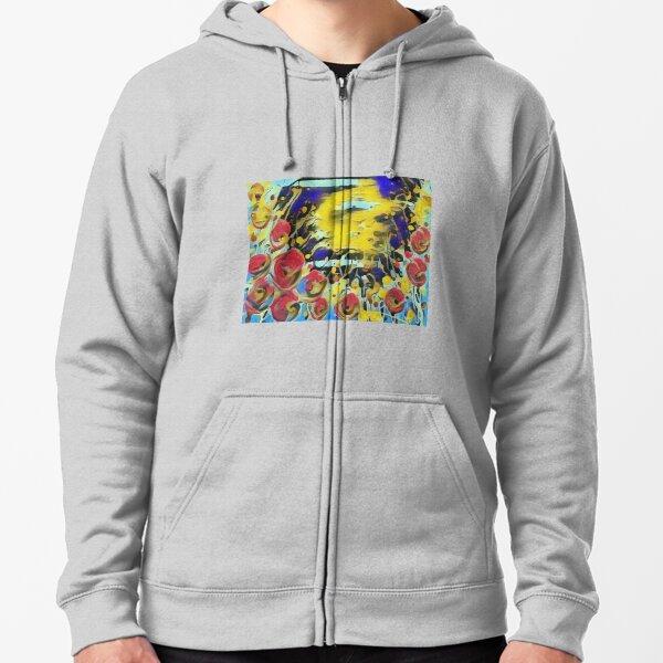 Poppy Garden 19 designed & created by (c) Janet Watson Art   Zipped Hoodie