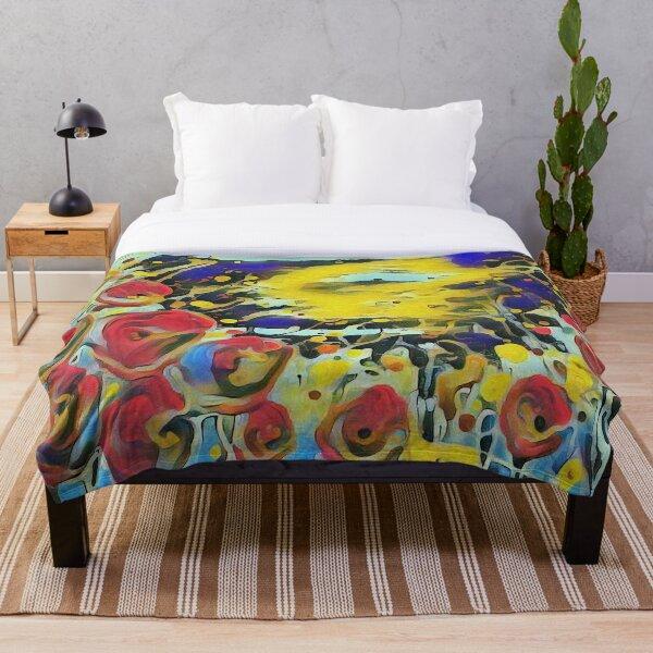 Poppy Garden 19 designed & created by (c) Janet Watson Art   Throw Blanket