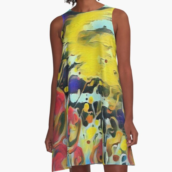 Poppy Garden 19 designed & created by (c) Janet Watson Art   A-Line Dress