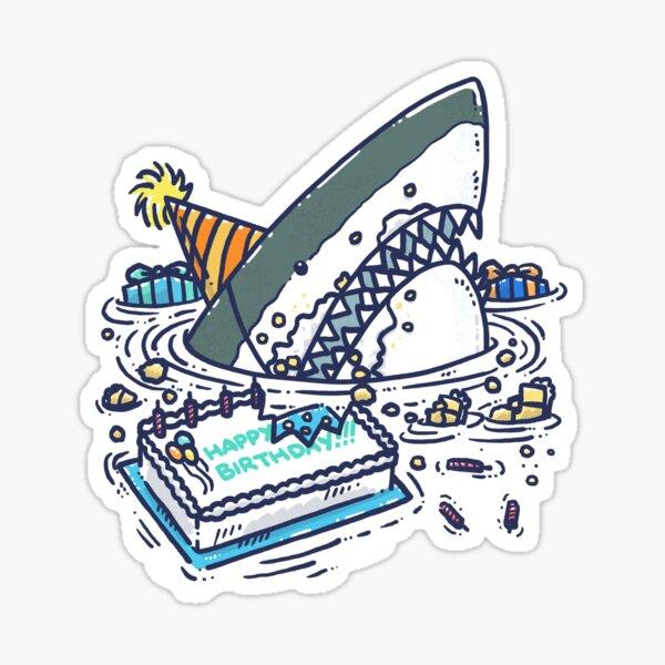 Sheet Cake Destruction Shark Sticker