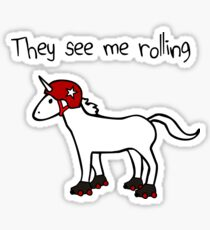 They See Me Rolling - Roller Derby Unicorn Sticker