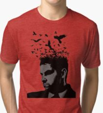 Man with Crows Flying from the hair Tri-blend T-Shirt