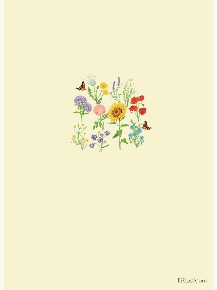 natural aesthetic floral design on yellow background art board print by littlebloom redbubble redbubble