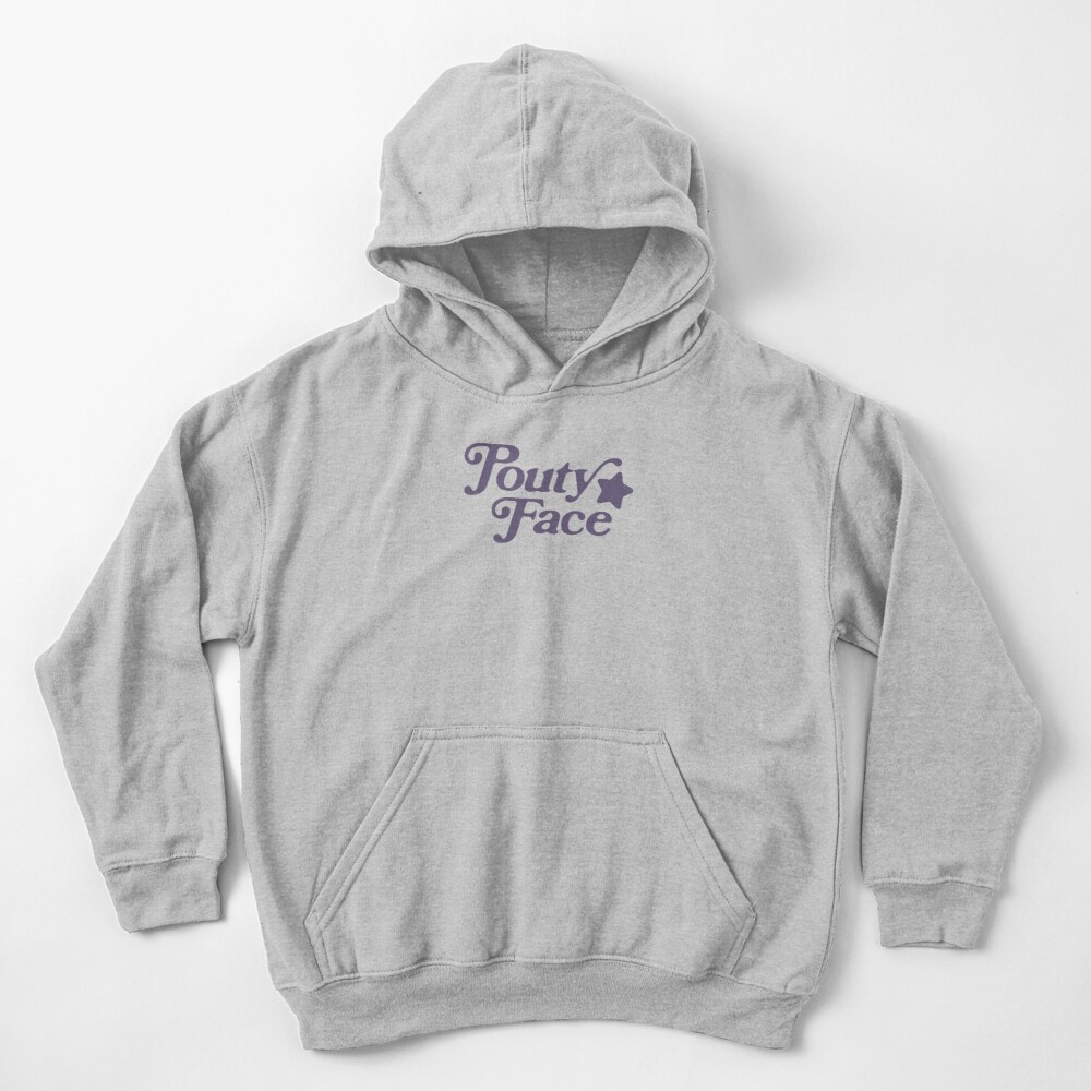 Pouty Face Grey Kids Pullover Hoodie