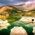 Orxeta reservoir. under stormy skies by Ralph Goldsmith