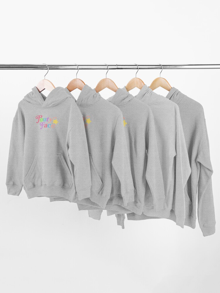 Alternate view of Pouty Face Rainbow Kids Pullover Hoodie