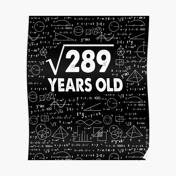 17 años 17 años Regalo Raíz cuadrada de 289 Regalos para amantes de la ciencia Póster