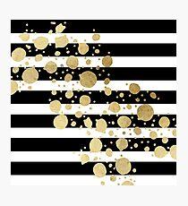 Faux Gold Paint Splatter on Black & White Stripes Photographic Print