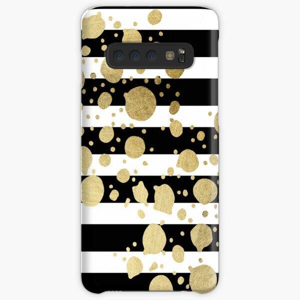 Faux Gold Paint Splatter on Black & White Stripes Samsung Galaxy Snap Case