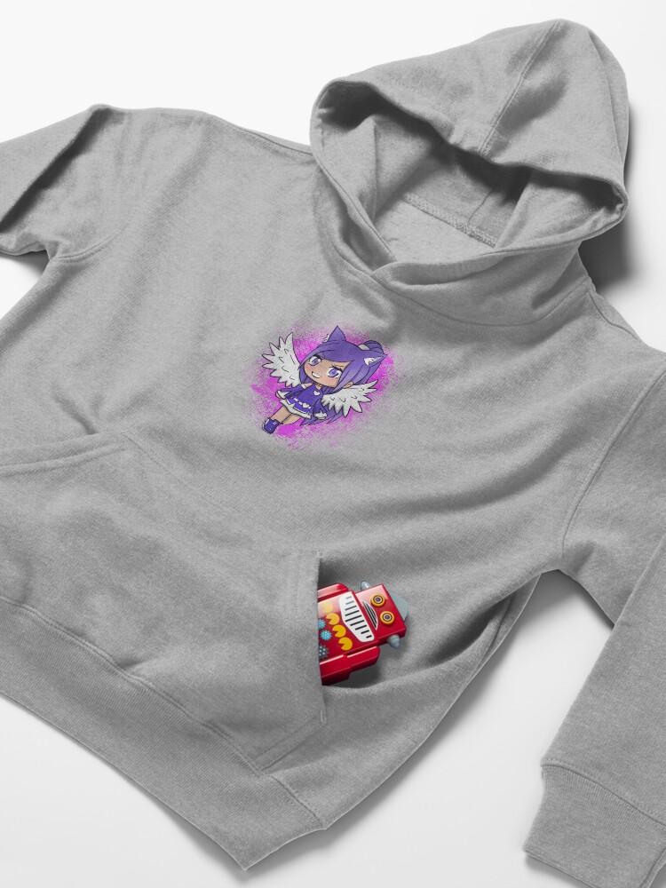 Alternate view of Purple Alpha Gacha Girl - Pink Texture Kids Pullover Hoodie