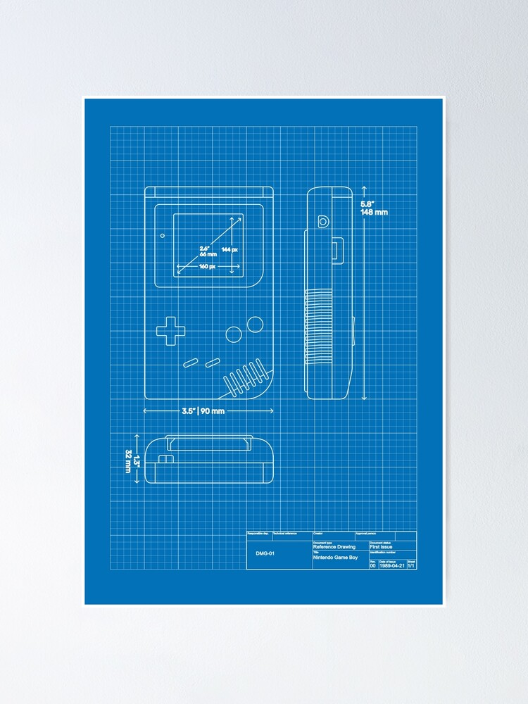 Alternate view of Game Boy blueprint Poster