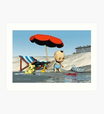 Baby Toon-Discoveries on the beach Art Print
