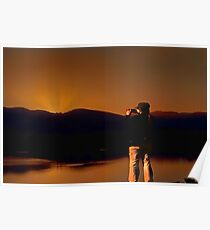 Woman shooting her first sunrise Poster