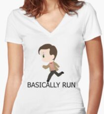 Basically Run Women's Fitted V-Neck T-Shirt