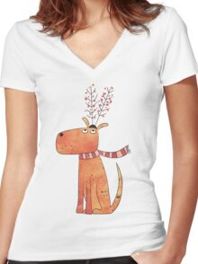 The Antler Hat Women's Fitted V-Neck T-Shirt