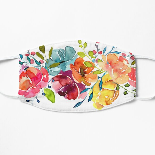 Bright Flowers Summer Watercolor Peonies Mask