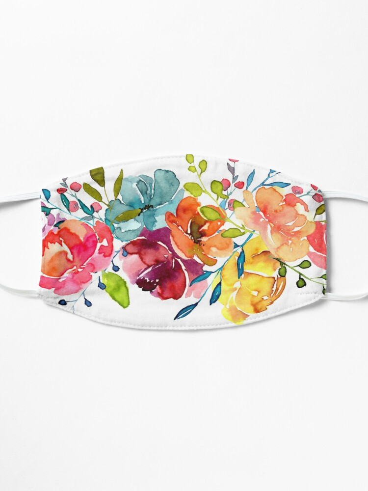 Alternate view of Bright Flowers Summer Watercolor Peonies Mask