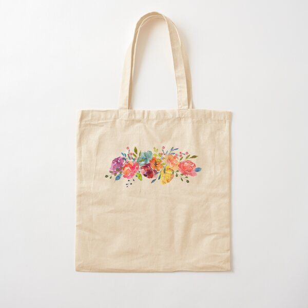 Bright Flowers Summer Watercolor Peonies Cotton Tote Bag