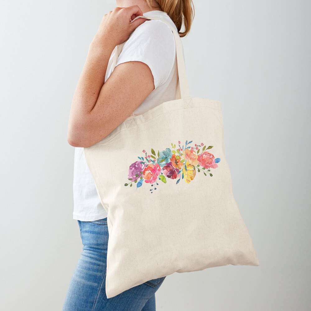 Bright Flowers Summer Watercolor Peonies Tote Bag