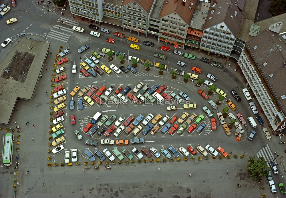 View of Münsterplatz from the Minster in Ulm, Germany. 1980's. by David A. L. Davies