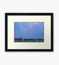 C2C Red Barn Lightning Rodeo  Framed Print