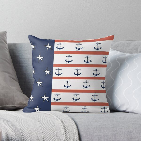 Red Blue White Sailing Flag 2 Throw Pillow