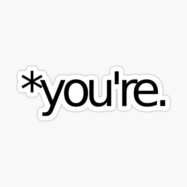 *you're. Grammar Nazi T Shirt! BLACK Sticker