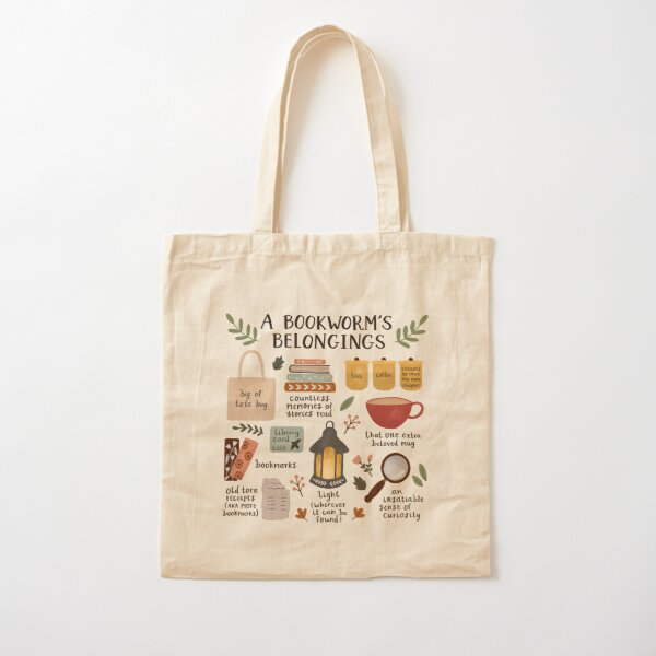A Bookworm's Belongings Cotton Tote Bag